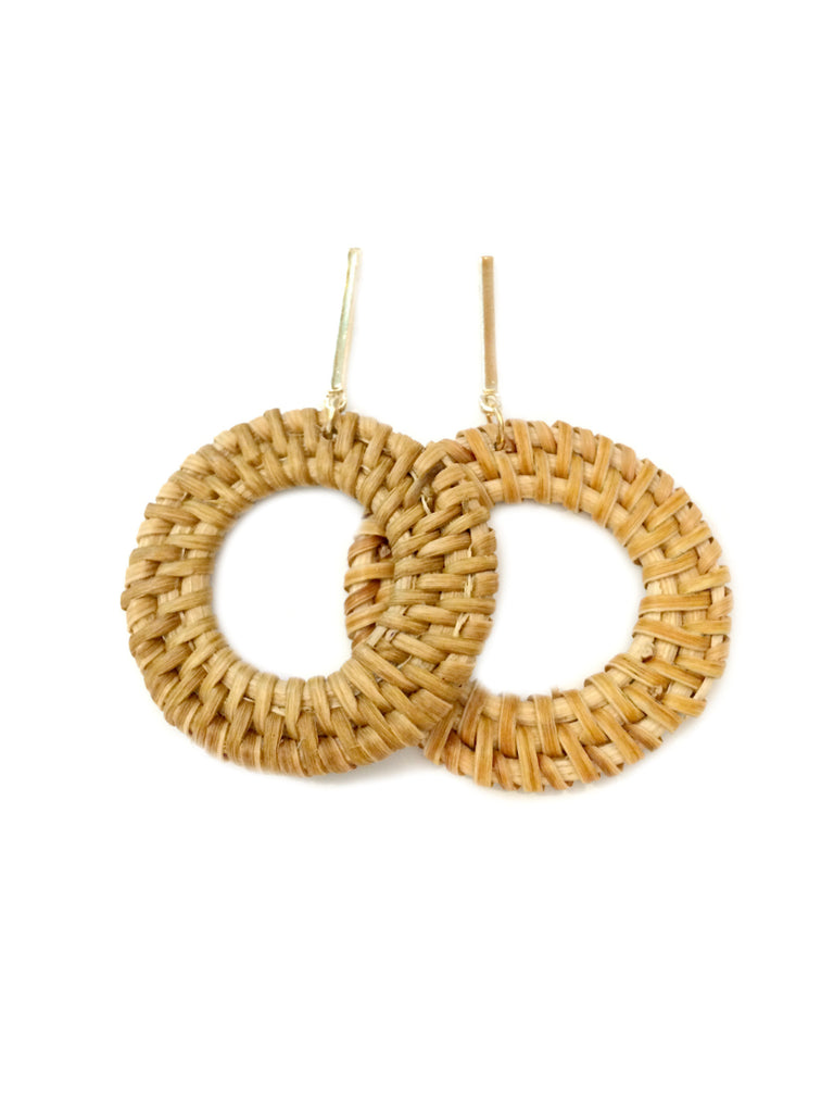 Woven Rattan Statement Earrings | Gold Accent Fashion | Light Years
