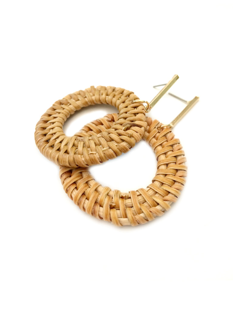 Woven Rattan Statement Earrings | Gold Brown Accent Fashion | Light Years