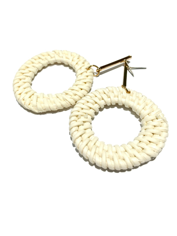 Woven Rattan Statement Earrings | Gold Ivory Accent Fashion | Light Years