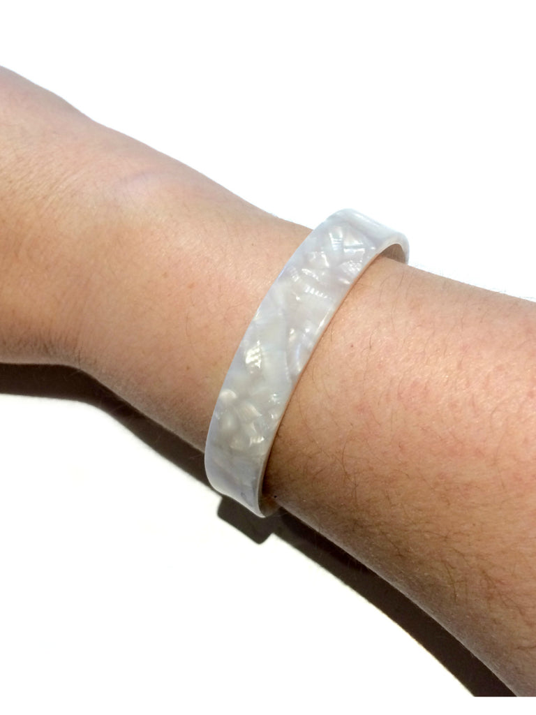Acrylic Cuff Bracelet | Trendy Tortoise White Shell | Light Years Jewelry