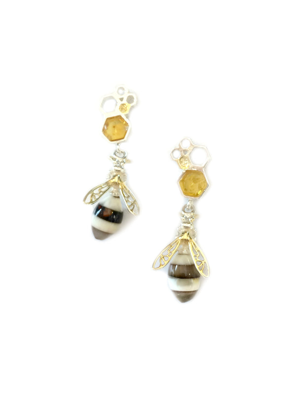 Honeybee & Comb Amber Post Earrings | Sterling Silver | Light Years
