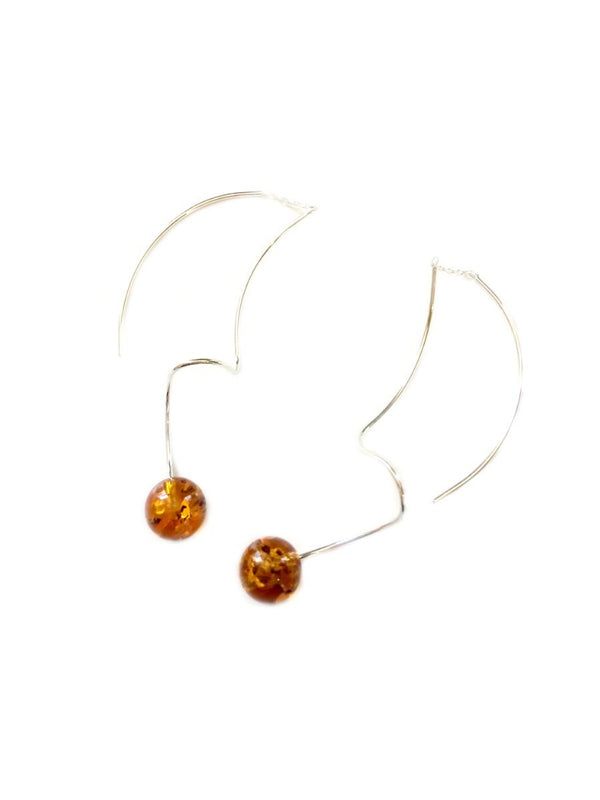 Curled Baltic Amber Thread Earrings | Sterling Silver | Light Years