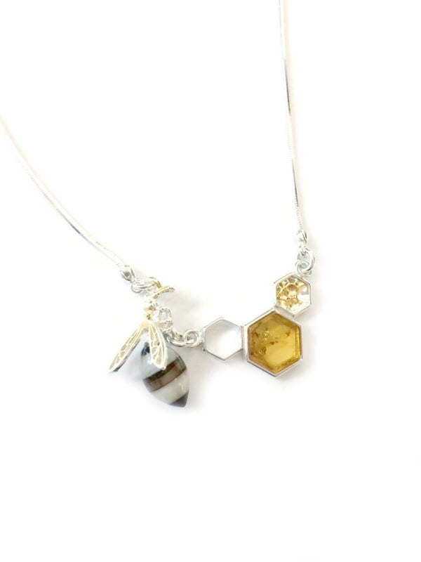Amber Bee & Honeycomb Necklace | Sterling Silver | Light Years Jewelry