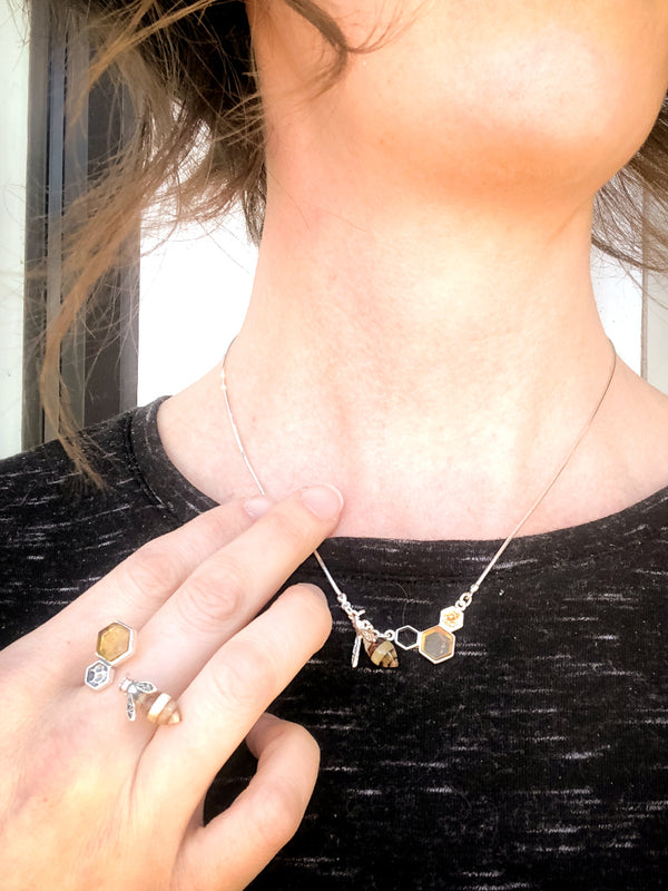 Amber Bee & Honeycomb Necklace