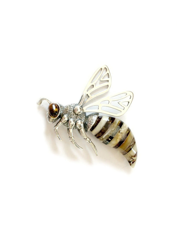 Baltic Amber Bee Pendant | Sterling Silver Wasp Hornet | Light Years