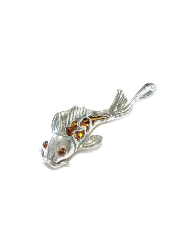 Baltic Amber & Silver Koi Fish Pendant | Sterling Silver | Light Years