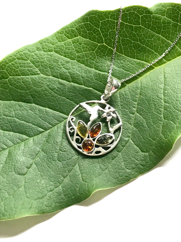 Baltic Amber & Hummingbird Necklace | Sterling Silver Chain | Light Years