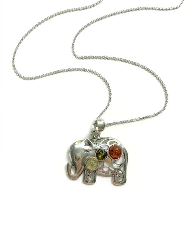 Amber Elephant Necklace | Sterling Silver Chain Pendant | Light Years