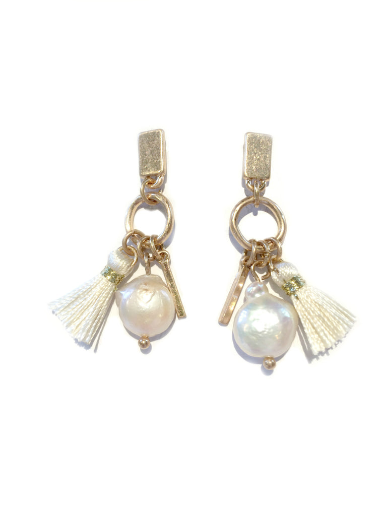 Pearl & Tassel Post Earrings | Matte Gold Fashion Studs | Light Years