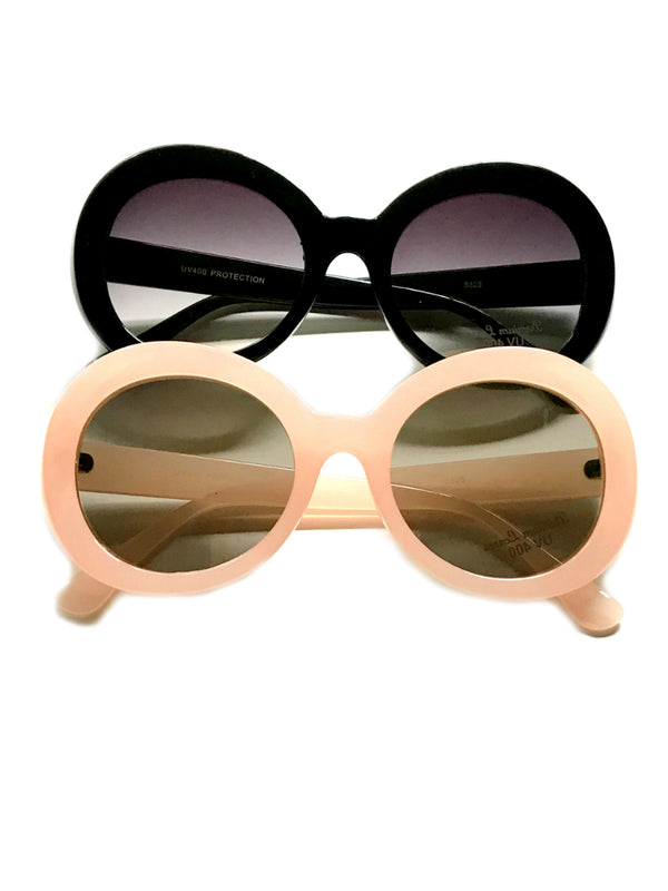 Retro Sunglasses | Frosted Pink Black Vintage Style | Light Years Jewelry