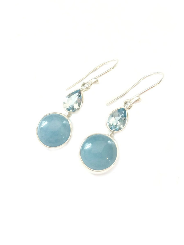 Aquamarine & Blue Topaz Dangles | Sterling Silver | Light Years Jewelry