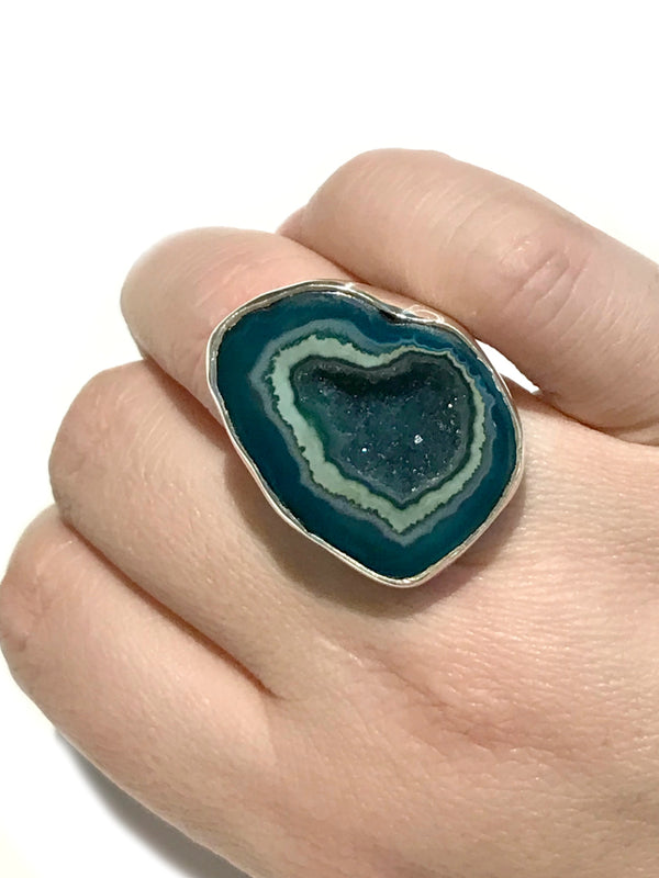 Seafoam Green Druzy Statement Ring | Sterling Silver Size 7 | Light Years