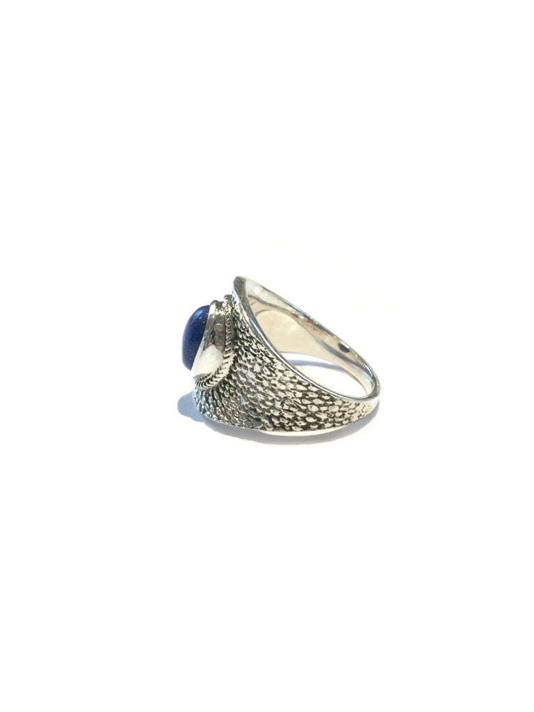 Textured Lapis Ring | Sterling Silver 6 7 8 9 10 | Light Years Jewelry