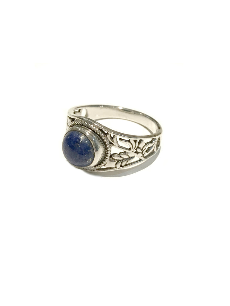 Leafy Lapis Ring | Sterling Silver Size 8 9 | Light Years Jewelry