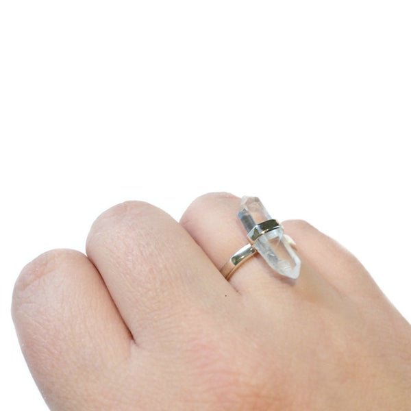 Crystal Point Ring | Sterling Silver Size 5 6 7 8 9 10 | Light Years