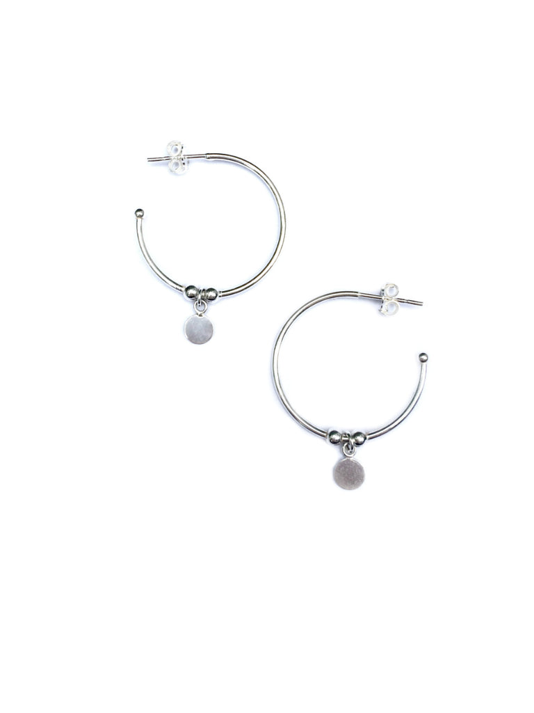 Disc Dangle Hoops | Sterling Silver Posts Earrings | Light Years Jewelry