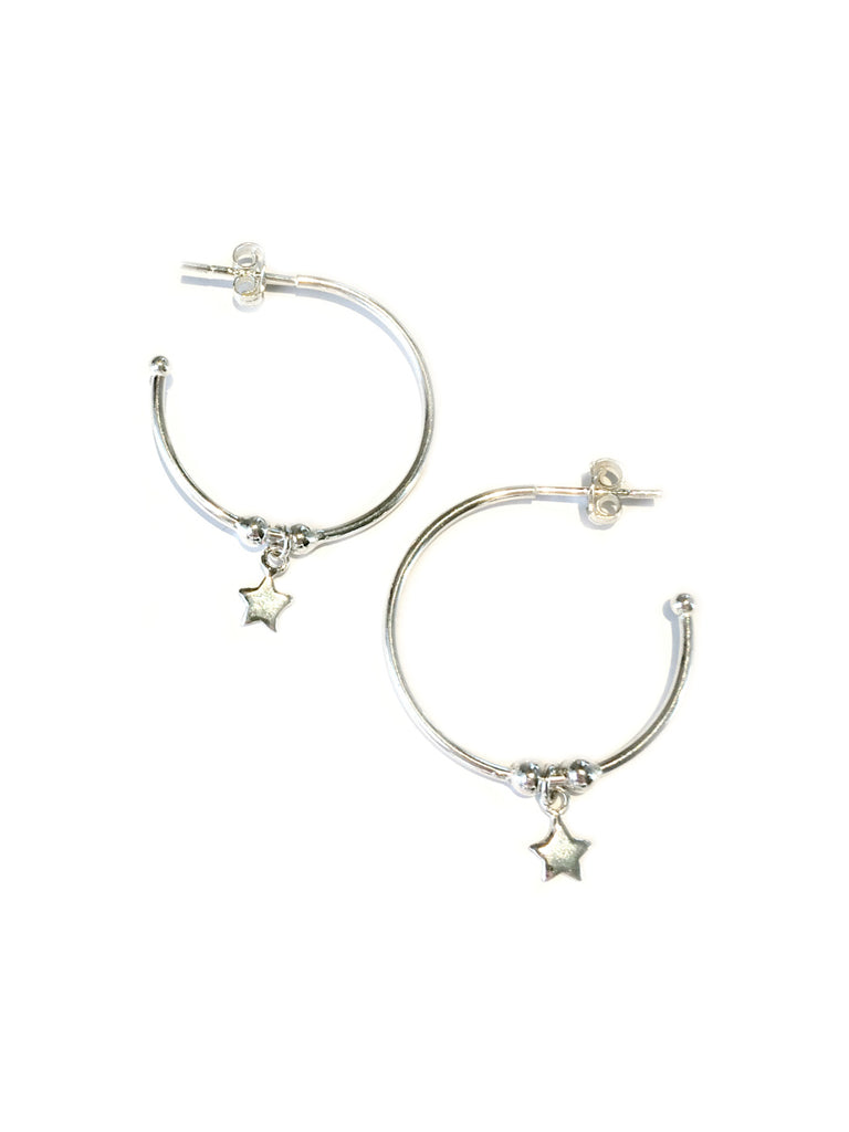 Star Dangle Post Hoops | Sterling Silver Earrings | Light Years Jewelry