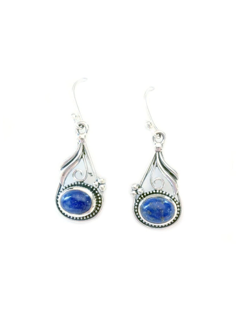 Decorative Lapis Dangles | Sterling Silver Earrings | Light Years