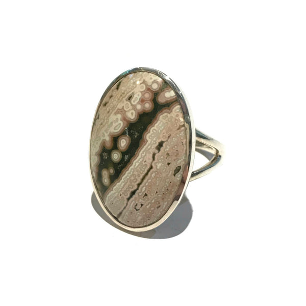 Oval Ocean Jasper Statement Ring | Sterling Silver Size 10 | Light Years