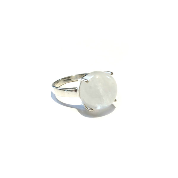 Round Moonstone Ring | Sterling Silver Size 7 8 9 | Light Years Jewelry