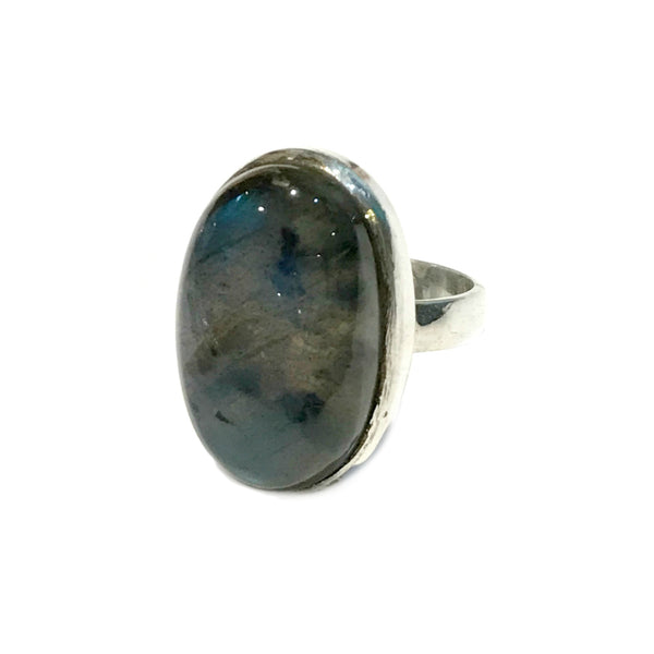 Labradorite Statement Ring | Sterling Silver Size 6 7 8 9 | Light Years
