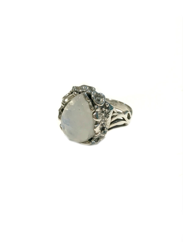Floral Moonstone Ring | Sterling Silver Size 7 9 | Light Years Jewelry