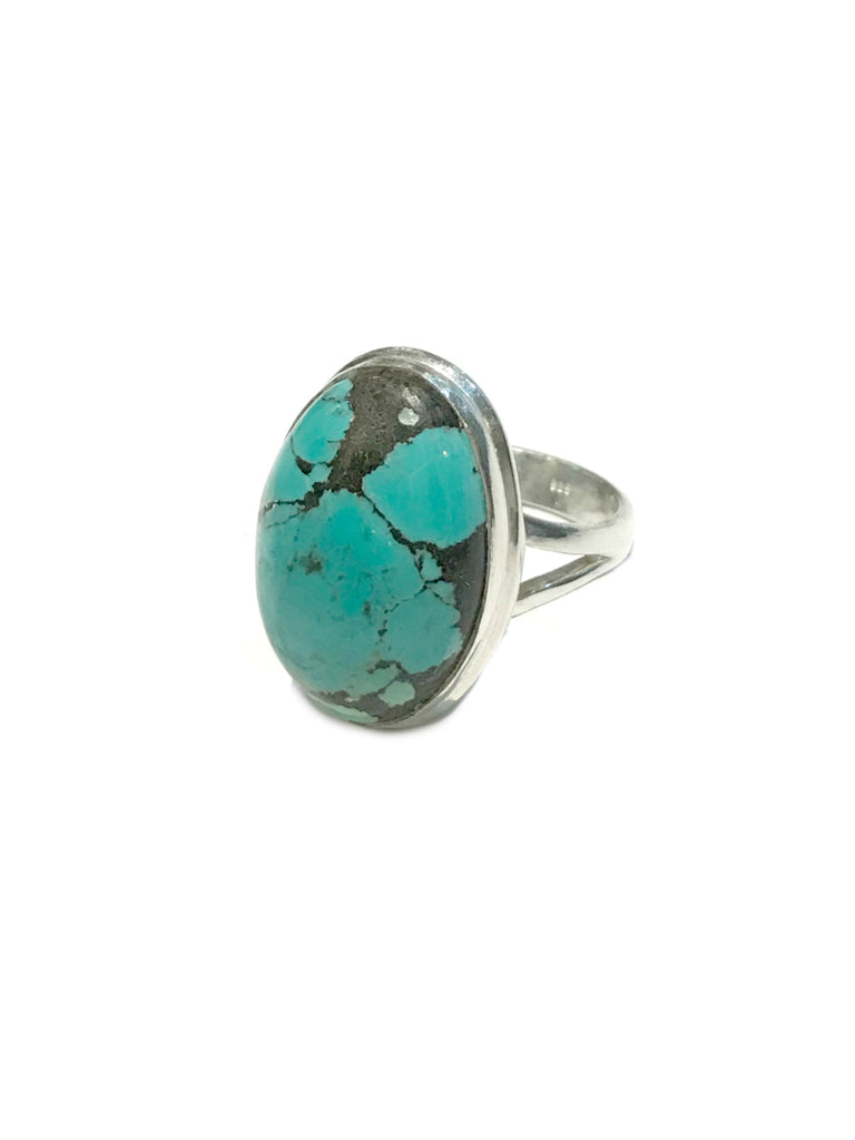 Turquoise Cabochon Ring | Sterling Silver Size 7 8 | Light Years Jewelry