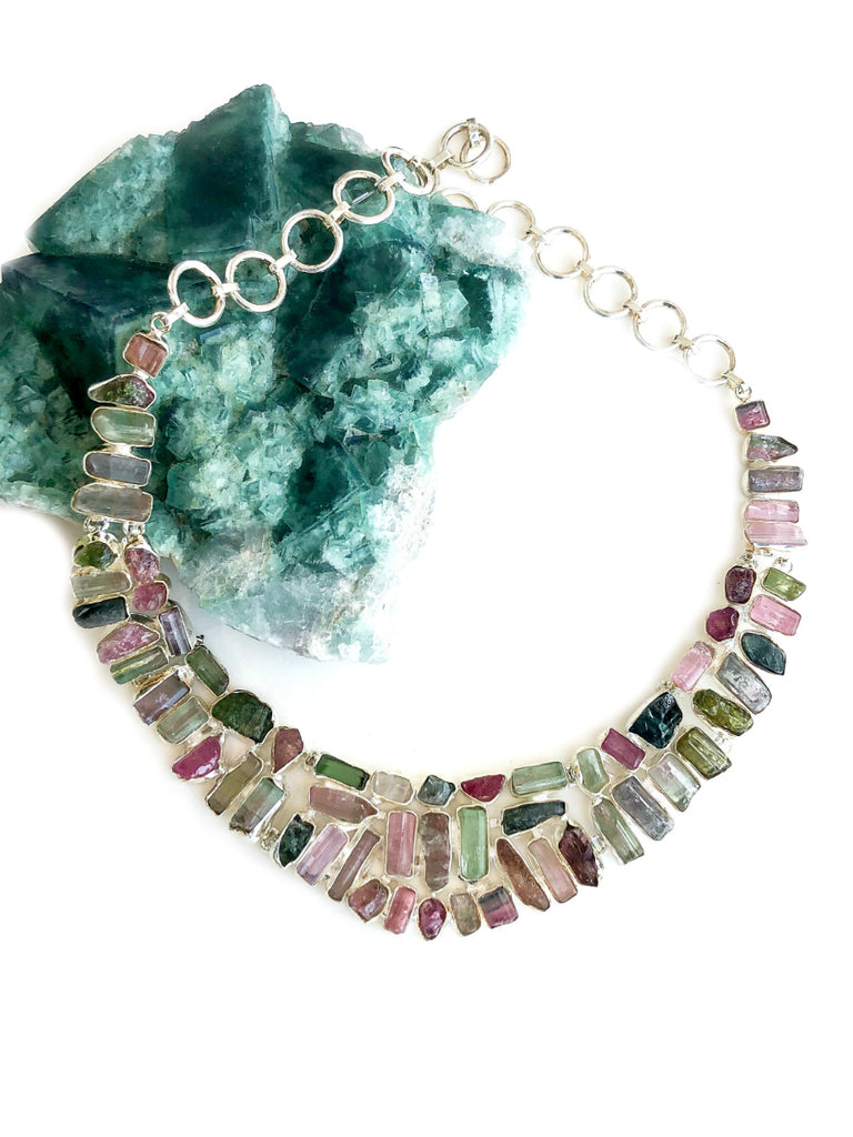 Watermelon Tourmaline Crystal Necklace | Sterling Silver | Light Years