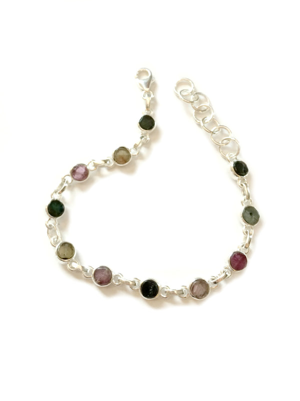 Tourmaline Linked Bracelet | Sterling Silver Gemstone | Light Years