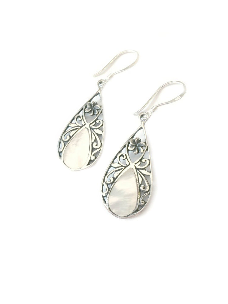 Floral Shell Earrings | Sterling Silver Handmade Dangles | Light Years