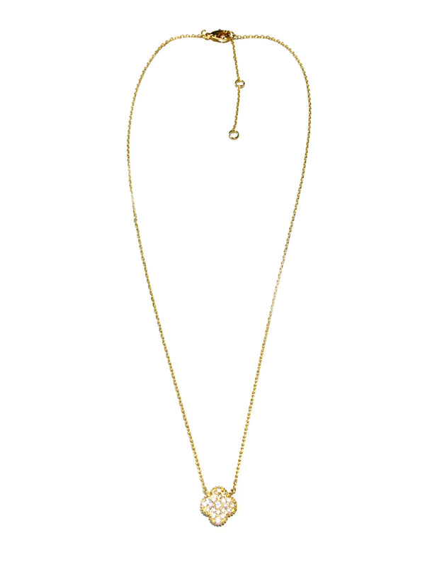 Pave Clear CZ Clover Necklace | Gold Plated Chain Pendant | Light Years