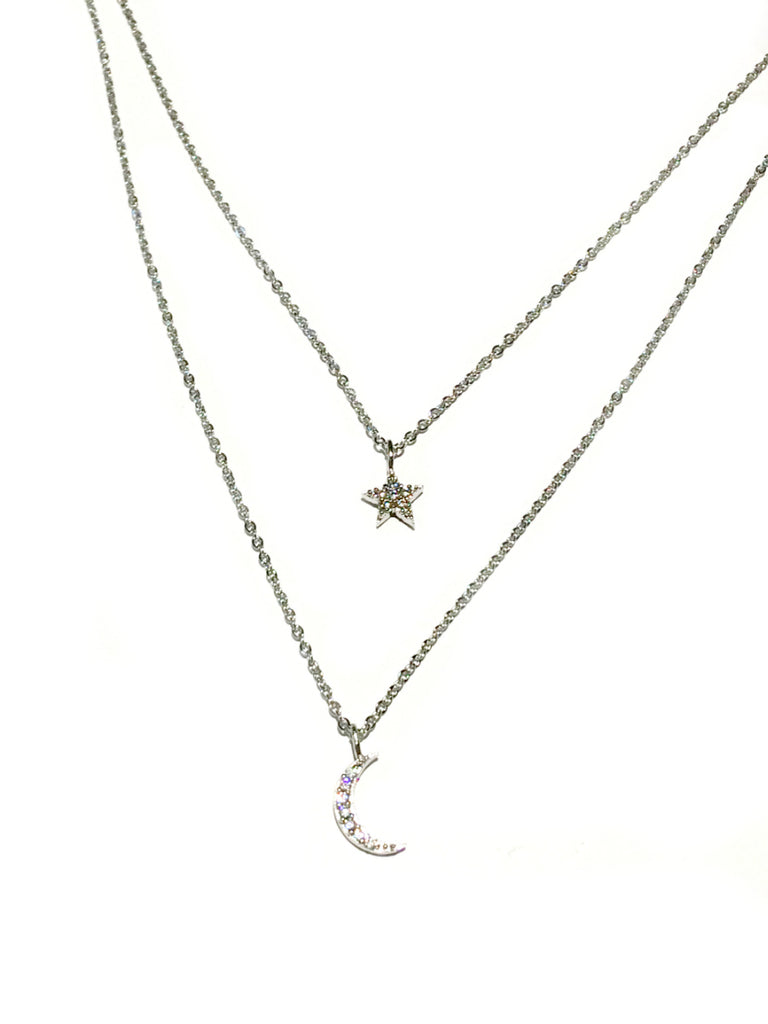 Layered Celestial Necklace | Gold Silver Plated Star Moon | Light Years