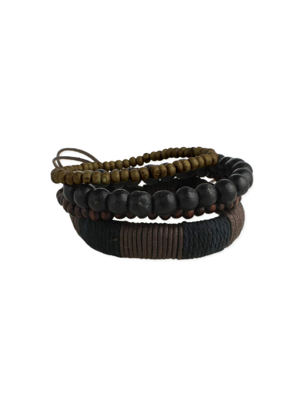 Wood Beads & Leather Bracelet Set | Men's Fashion | Light Years Jewelry