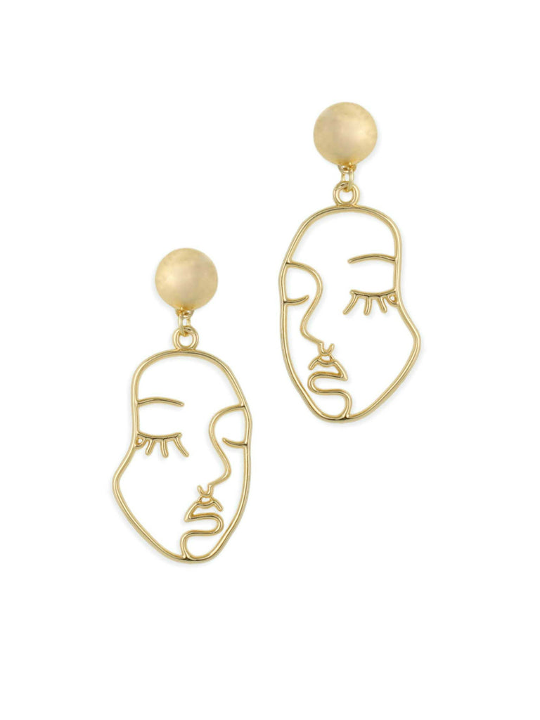 Face Outline Statement Earrings | Gold Posts Dangles | Light Years