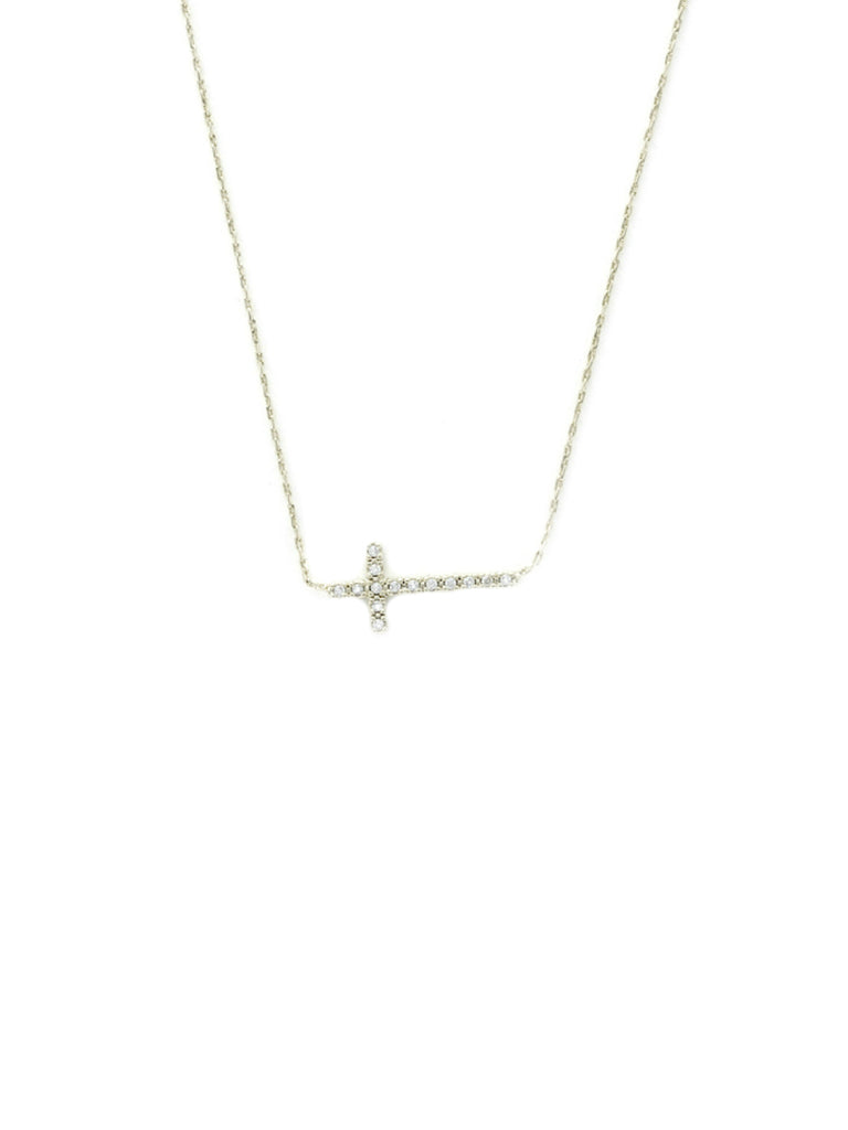 Sideways Cross CZ Necklace | Silver Plated Chain | Light Years Jewelry
