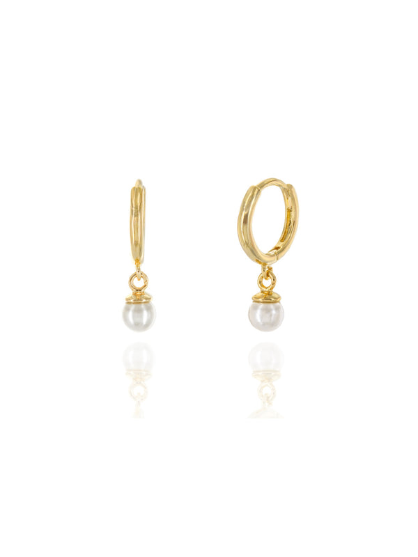 Pearl Dangle Huggie Hoops | Gold Plated Earrings | Light Years Jewelry