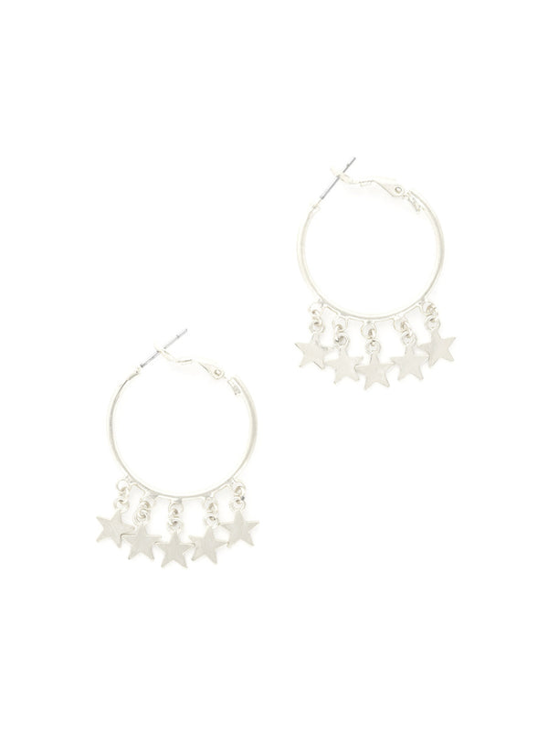Star Dangle Hoops | Silver Celestial Fashion Earrings | Light Years