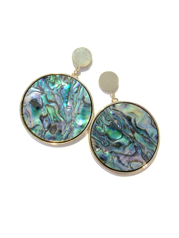 Abalone Disc Statement Earrings | Gold Plated Posts | Light Years