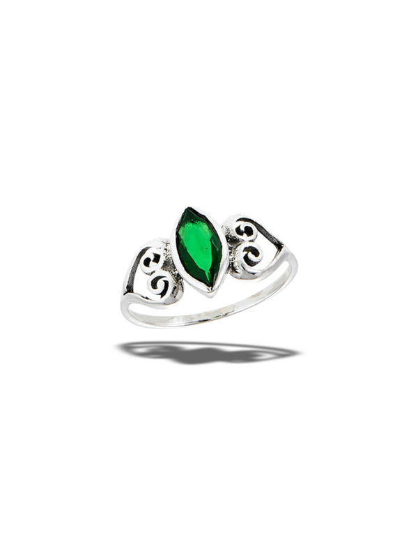 Marquis Cut Green CZ Ring | Sterling Silver Size 6 7 8 9 | Light Years