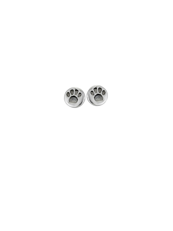 Paw Print Disc Posts | Sterling Silver Stud Earrings | Light Years