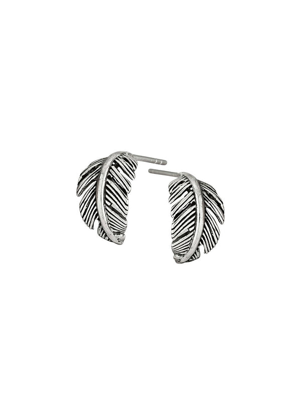 Curled Feather Post Earrings | Sterling Silver Hoops | Light Years