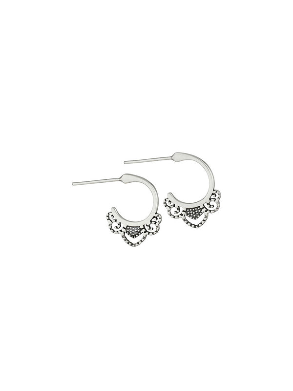 Filigree Edge Post Hoops | Sterling Silver Studs Earrings | Light Years