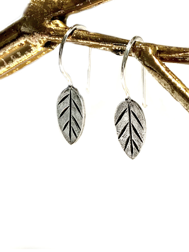 Matte Leaf Drop Dangles | Sterling Silver Earrings | Light Years Jewelry