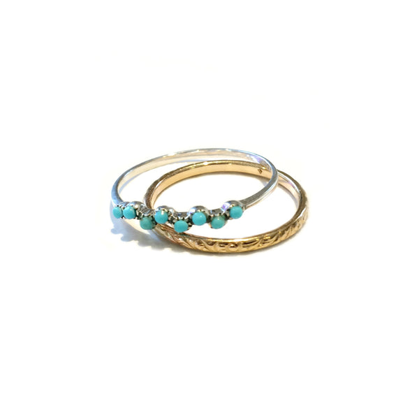 Turquoise Bead Ring | Sterling Silver Size 6 7 8 9 10 | Light Years