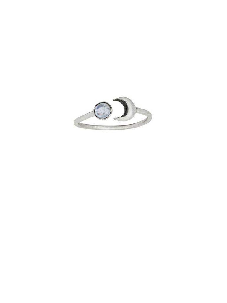 Crescent & Moonstone Ring | Sterling Silver Size 5 6 7 8 9 | Light Years