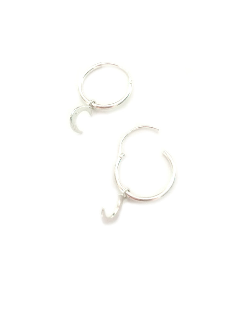 Crescent Moon Charm Hoops | Sterling Silver Earrings | Light Years