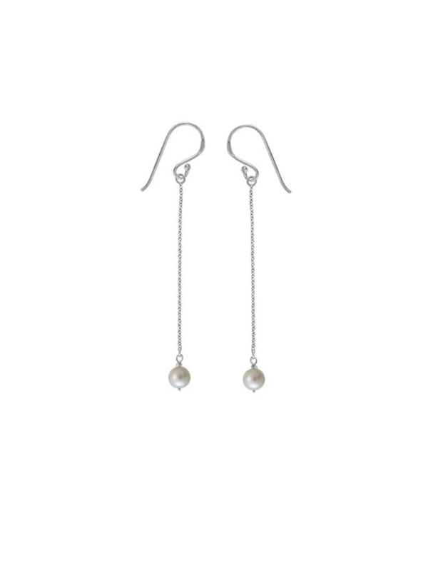 Pearl & Chain Drop Dangles | Sterling Silver Earrings | Light Years