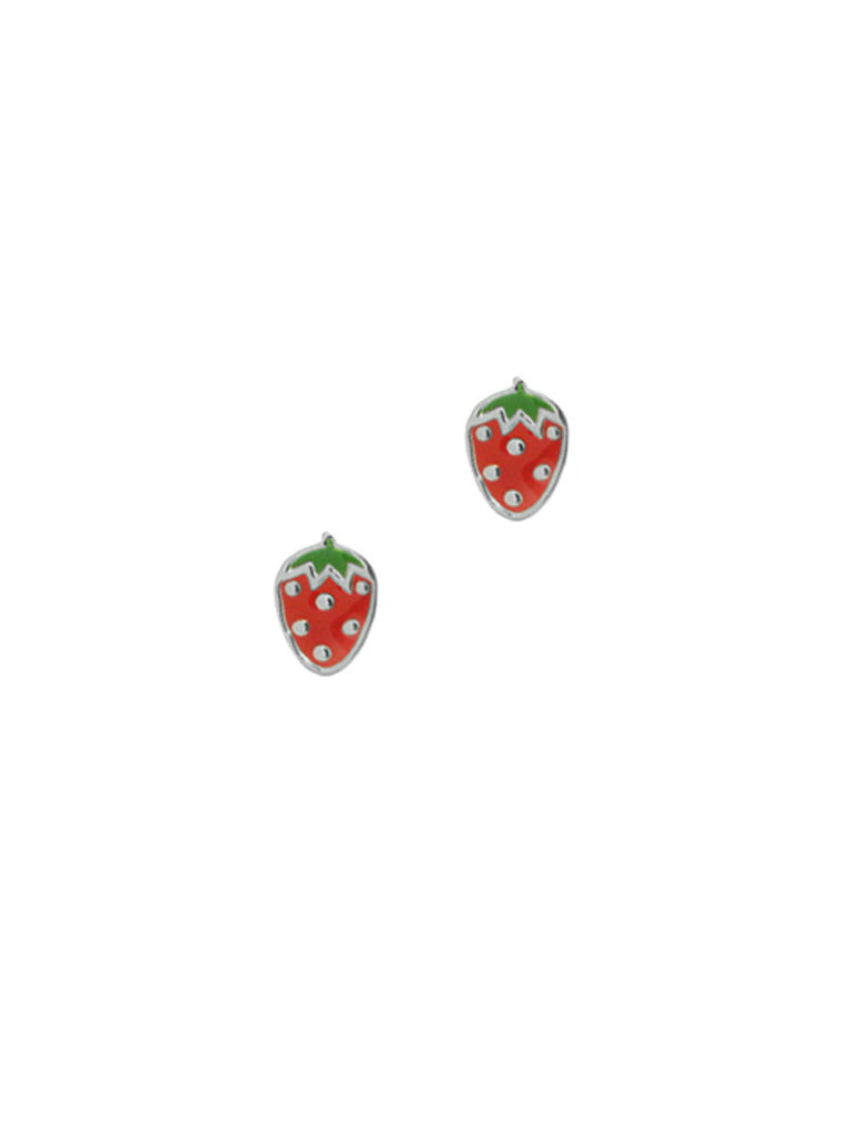 Strawberry Enamel Posts | Sterling Silver Stud Earrings | Light Years
