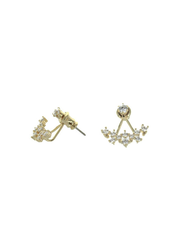 CZ Cluster Ear Jacket | Gold Silver Plated Stud Earrings | Light Years