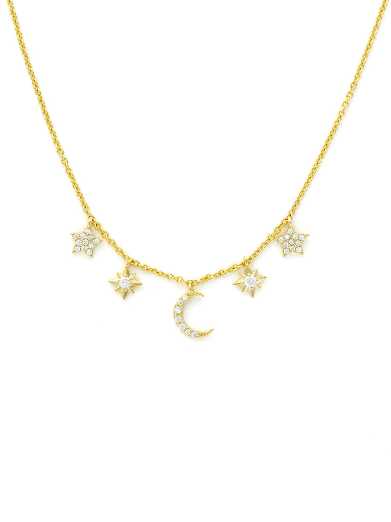 Celestial Charm Necklace | Gold Plated Moon Stars | Light Years Jewelry